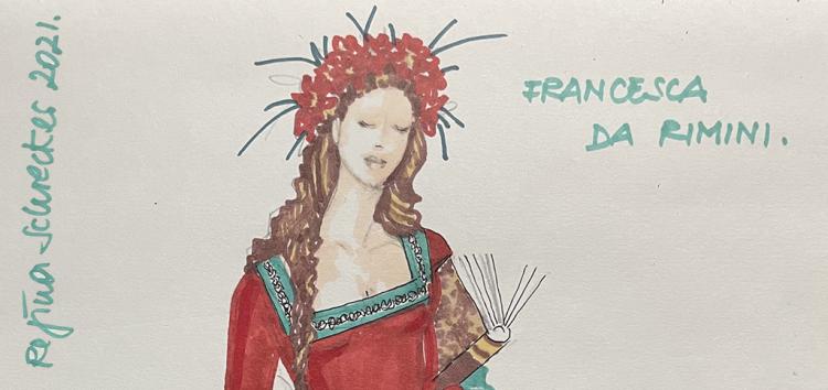 Zum Dante-Tag ehrt Regina Schrecker den Dichter mit einem von der Renaissance inspirierten Kleid
