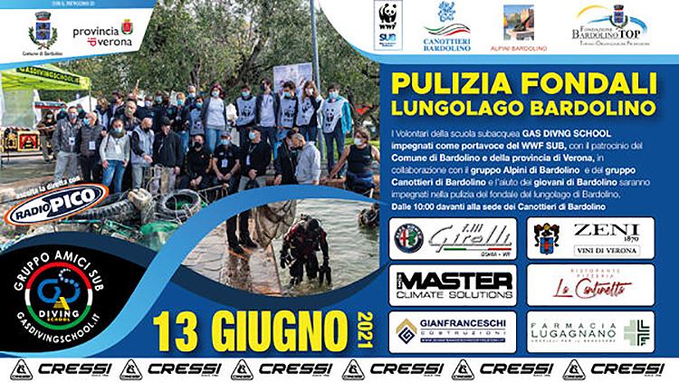 Ein Tag der Reinigung des Seebodens in Bardolino am 13. Juni 2021