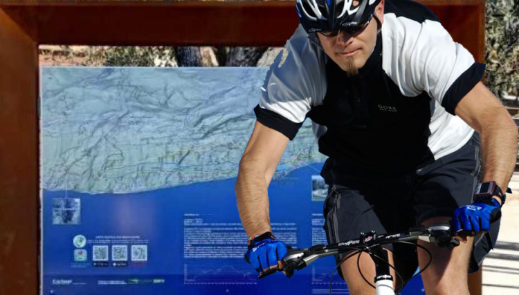 In Torri del Benaco, neue Werbetafeln, die den Mountainbikern gewidmet sind