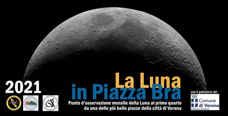 Am Sonntagabend, Mondbeobachtungen auf der Piazza Bra mit dem Club Astrofili von Verona